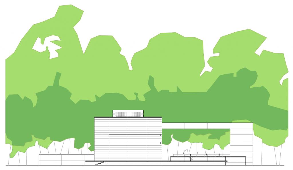 ALZADO LATERAL. Pabellón multiusos municipal. Superficie: 333,11 m2. Parque de la Quebradilla. Azuqueca de Henares. Guadalajara. 2005