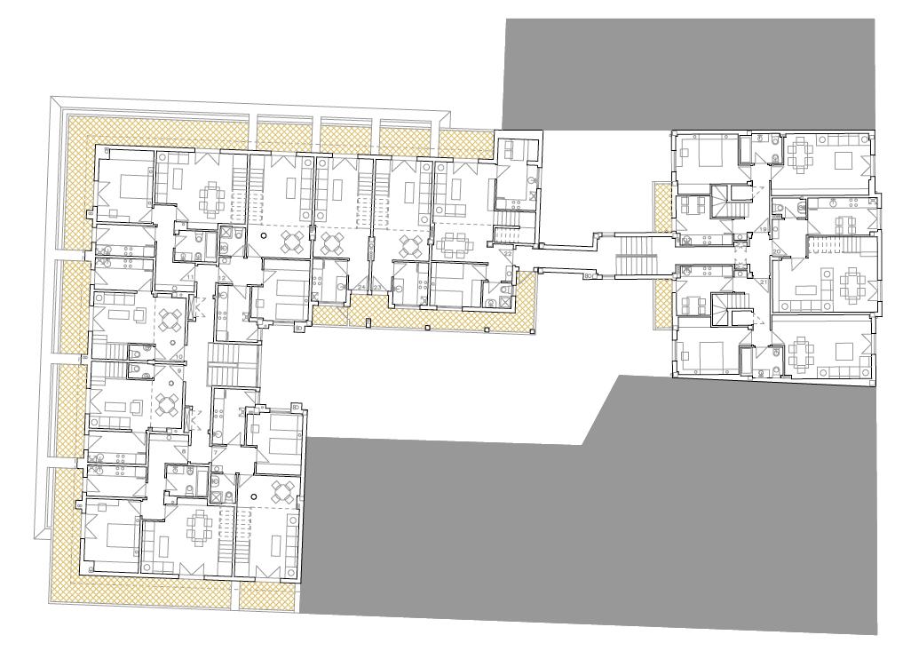 PLANTA SEGUNDA. Edificio de 24 viviendas, locales comerciales y 14 garajes. Superficie: 3.391,07 m2. Plaza del General Vives, 14 Calle Trinidad Tortuero, 10. Azuqueca de Henares. Guadalajara. 1997