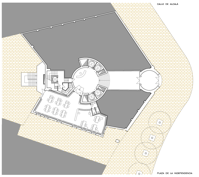 PLANTA BAJA. ACCESO. Sede de Fundesco. Superficie: 3.131.06 m2. Plaza de la Independencia 6. Madrid. 1,993