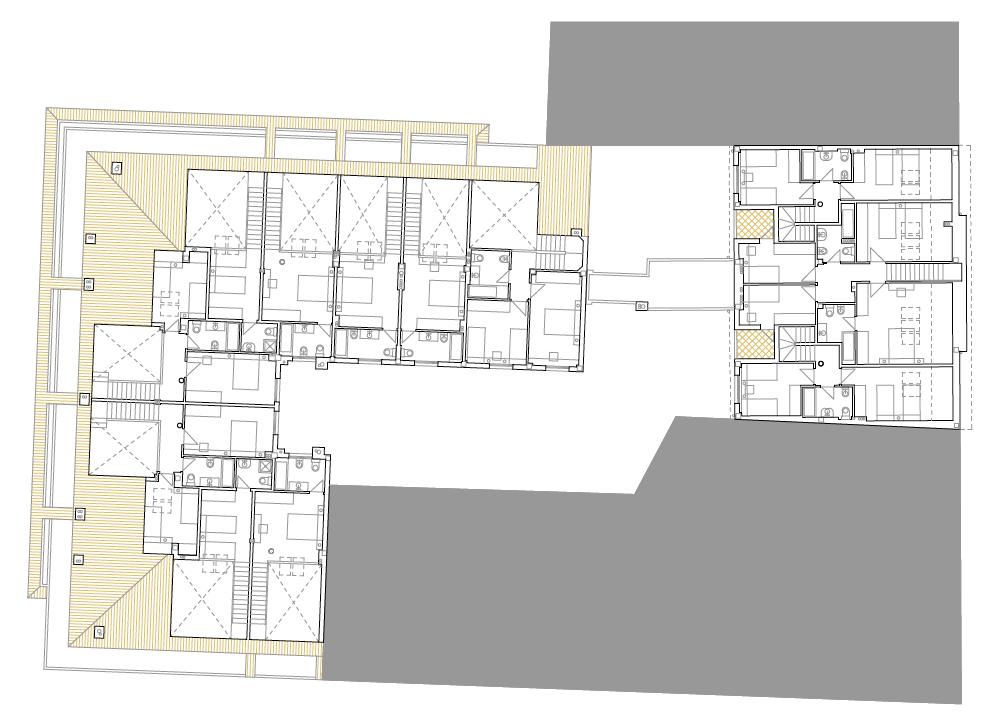 PLANTA BAJO CUBIERTAS. Edificio de 24 viviendas, locales comerciales y 14 garajes. Superficie: 3.391,07 m2. Plaza del General Vives, 14 Calle Trinidad Tortuero, 10. Azuqueca de Henares. Guadalajara. 1997