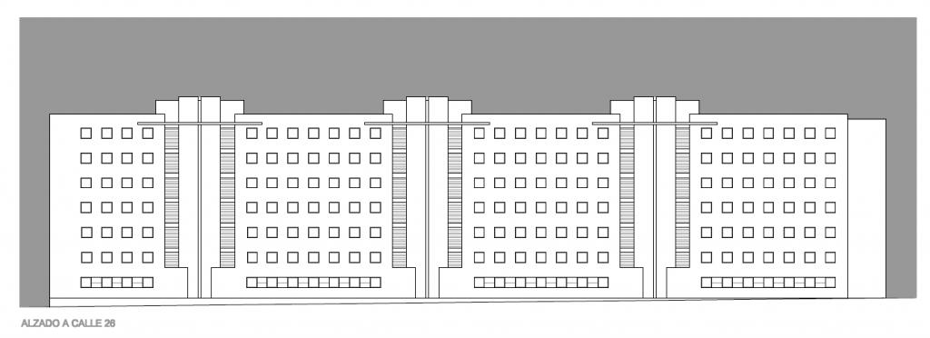 ALZADO A VÍA PÚBLICA. Segundo premio. Concurso para la EMV. Edificio de 98 viviendas y 124 garajes. Superficie: 9.785.75 m2. Parcela 2.8.1.2. Pau II-6U-E2. Carabanchel. Madrid. 2.000