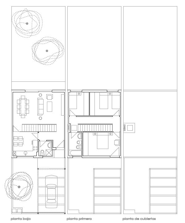 PLANTAS. 12 viviendas unifamiliares adosadas. Superficie: 1.275.36 m2. Parcelas 32 a 43. Sector R.4. Villanueva de la Torre. Guadalajara. 2.011