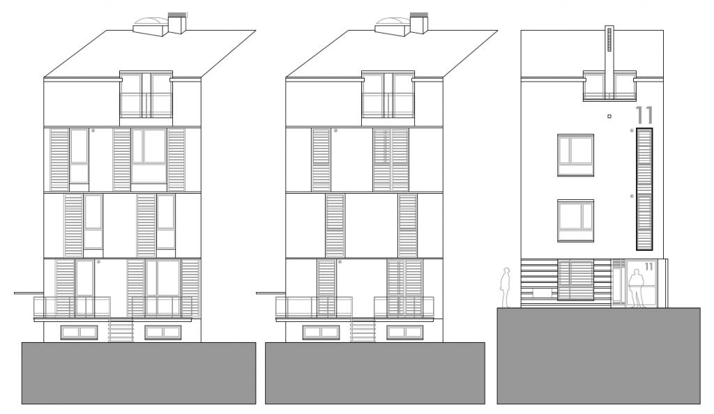 ALZADOS A PATIO Y A CALLE. Edificio de 4 viviendas y 4 trasteros. Superficie: 395.38 m2. Pza. Ramón y Cajal, 11. Azuqueca de Henares. Guadalajara. 2010