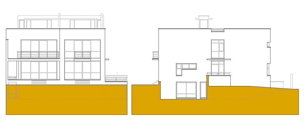 ALZADO A PARCELA Y LATERAL. 2 Viviendas unifamiliares en calle Río Miño, 51 A y 51 B. Superficie: 496,59 m2. Azuqueca de Henares. Guadalajara. 2004