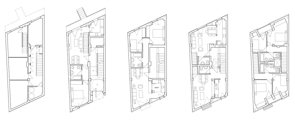 PLANTAS. Edificio de 4 viviendas y 4 trasteros. Superficie: 395.38 m2. Pza. Ramón y Cajal, 11. Azuqueca de Henares. Guadalajara. 2010