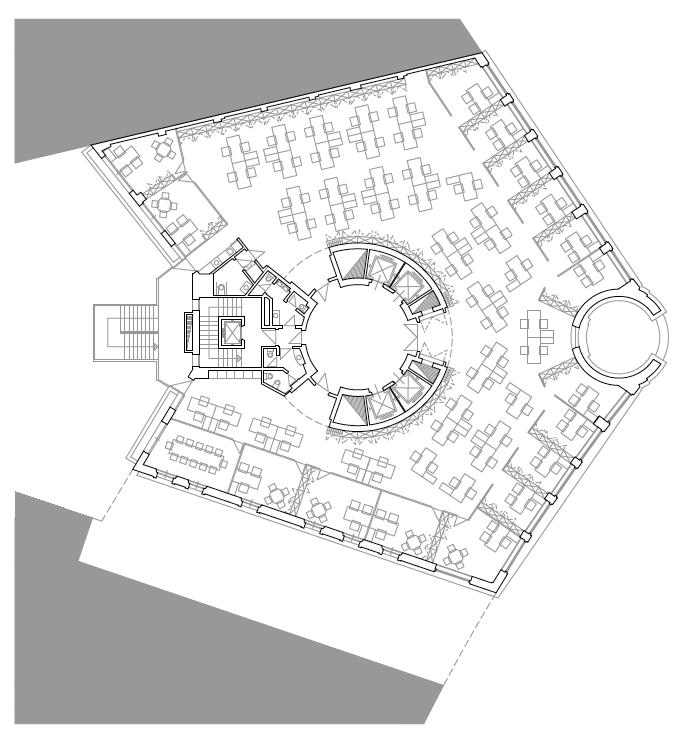 PLANTA PRIMERA. OFICINAS. Sede de Fundesco. Superficie: 3.131.06 m2. Plaza de la Independencia 6. Madrid. 1,993