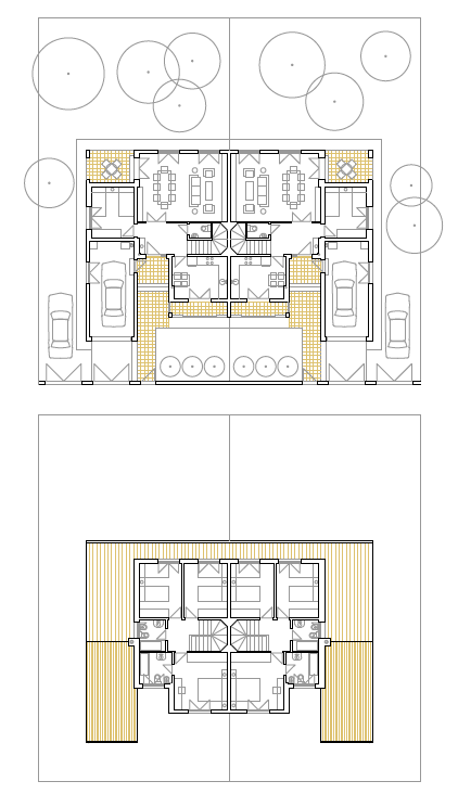 PLANTAS BAJA Y PRIMERA. 16 viviendas unifamiliares pareadas. Superficie: 2.416,04 m2. Parcelas 374, 375 y 401 a 414. Sector S.5. Villanueva de la Torre. Guadalajara. 2000