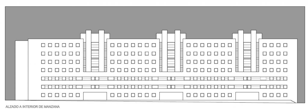 ALZADO A INTERIOR DE MANZANA. Segundo premio. Concurso para la EMV. Edificio de 98 viviendas y 124 garajes. Superficie: 9.785.75 m2. Parcela 2.8.1.2. Pau II-6U-E2. Carabanchel. Madrid. 2.000