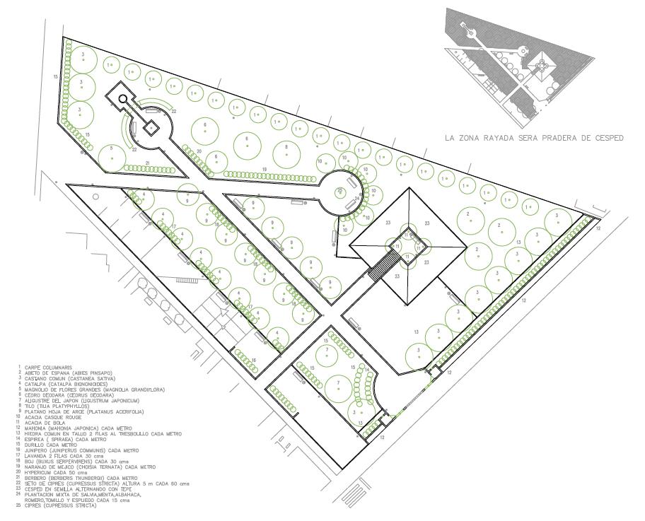 PLANTA DE AJARDINAMIENTO. Parque municipal. Superficie: 3.770,31 m2. Senda de San Lorenzo s/n. Azuqueca de Henares. Guadalajara. 2000