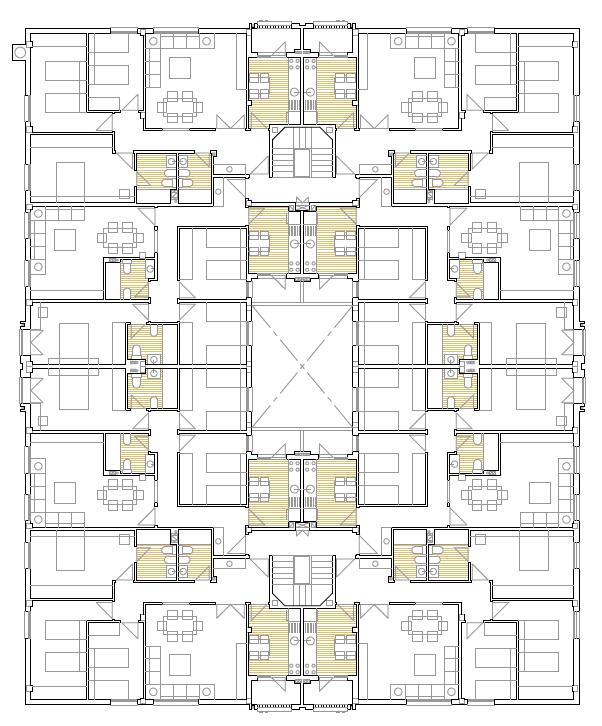 PLANTA PRIMERA. Edificio de 24 viviendas, 24 garajes y 12 trasteros. Superficie: 3.159,24 m2. Calle Postas, 56 y Calle Mulhacén, 17. Azuqueca de Henares. Guadalajara. 1998