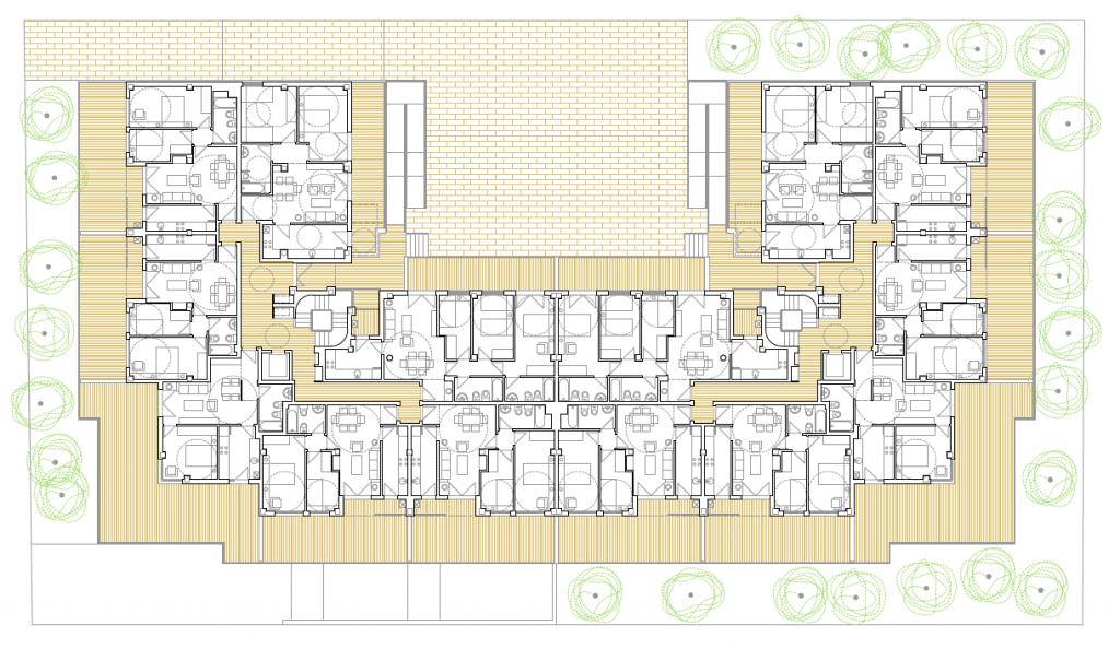 PLANTA BAJA. Edificio de 50 viviendas de protección oficial de precio tasaso, 50 garajes y 50 trasteros. Superficie: 4.937,26 m2. Sector R9. Parcela 55. Villanueva de la Torre. Guadalajara. 2009