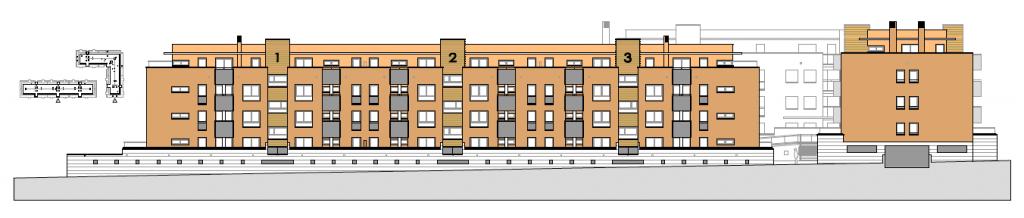 ALZADO A CALLE PRINCIPAL. Edificio de 85 viviendas de protección pública de precio tasado, 94 garajes y 85 trasteros. Superficie: 10.606,98 m2. Sector R3. Parcela RP8. Villanueva de la Torre. Guadalajara. 2009