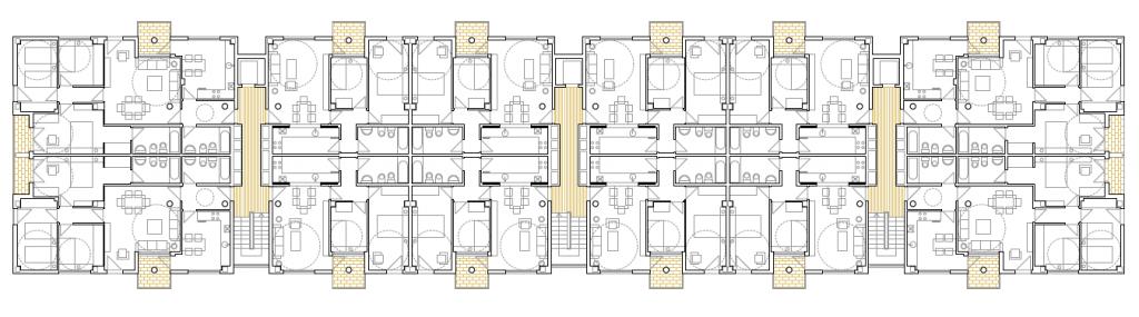 PLANTA TIPO BLOQUE RECTO. Edificio de 85 viviendas de protección pública de precio tasado, 94 garajes y 85 trasteros. Superficie: 10.606,98 m2. Sector R3. Parcela RP8. Villanueva de la Torre. Guadalajara. 2009
