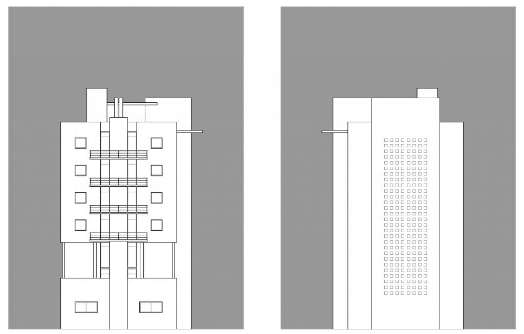 ALZADOS LATERALES. Segundo premio. Concurso para la EMV. Edificio de 98 viviendas y 124 garajes. Superficie: 9.785.75 m2. Parcela 2.8.1.2. Pau II-6U-E2. Carabanchel. Madrid. 2.000