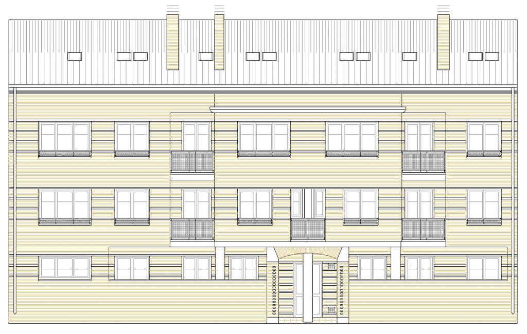 ALZADO PRINCIPAL. Edificio de 9 viviendas. Superficie: 973,28 m2. Calle Río Badiel, 9. Azuqueca de Henares. Guadalajara. 1998