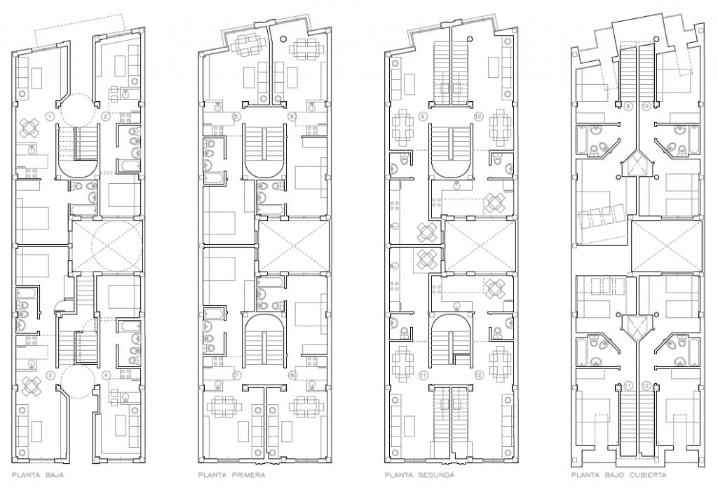 PLANTAS. Edificio de 10 apartamentos y 2 estudios. Superficie: 721 m2. Calle Estrella, 6. Azuqueca de Henares. Guadalajara. 2003