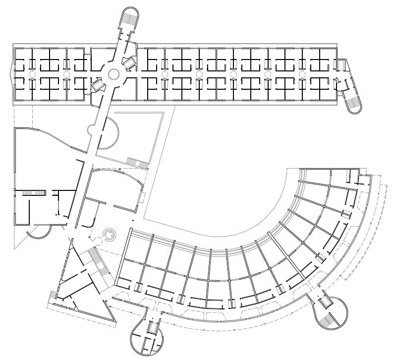 PLANTA PRIMERA. Residencia geriátrica y centro de día. 142 camas. Superficie: 5.758,16 m2. Calle Paraiso. Torres de la Alameda. Madrid. 1999