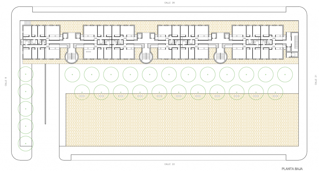 PLANTA BAJA. Segundo premio. Concurso para la EMV. Edificio de 98 viviendas y 124 garajes. Superficie: 9.785.75 m2. Parcela 2.8.1.2. Pau II-6U-E2. Carabanchel. Madrid. 2.000
