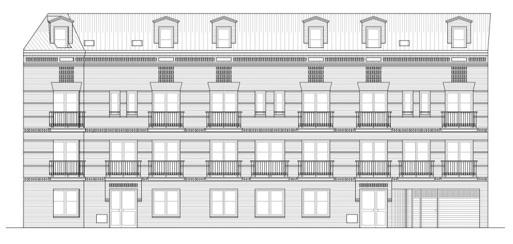 ALZADO PRINCIPAL. Edificio de 19 viviendas, garajes y trasteros. Superficie: 2.448 m2. Calle del Pez, 9 y 11. Azuqueca de Henares. Guadalajara. 2005