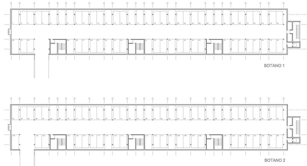 PLANTAS DE APARCAMIENTO. Segundo premio. Concurso para la EMV. Edificio de 98 viviendas y 124 garajes. Superficie: 9.785.75 m2. Parcela 2.8.1.2. Pau II-6U-E2. Carabanchel. Madrid. 2.000