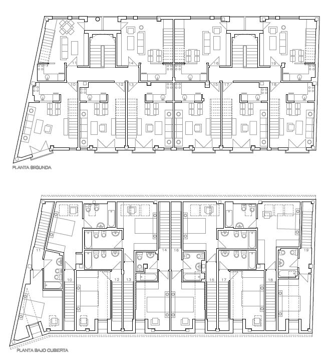PLANTA SEGUNDA Y BAJO CUBIERTAS. Edificio de 19 viviendas, garajes y trasteros. Superficie: 2.448 m2. Calle del Pez, 9 y 11. Azuqueca de Henares. Guadalajara. 2005