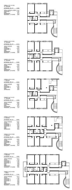 TIPOLOGÍAS DE VIVIENDAS. Segundo premio. Concurso para la EMV. Edificio de 98 viviendas y 124 garajes. Superficie: 9.785.75 m2. Parcela 2.8.1.2. Pau II-6U-E2. Carabanchel. Madrid. 2.000