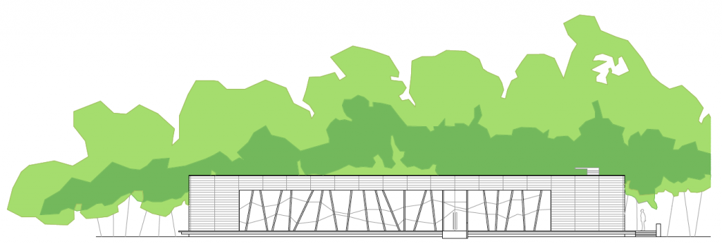 ALZADO PRINCIPAL. Pabellón multiusos municipal. Superficie: 333,11 m2. Parque de la Quebradilla. Azuqueca de Henares. Guadalajara. 2005