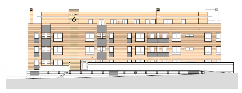 ALZADO A CALLE LATERAL. Edificio de 85 viviendas de protección pública de precio tasado, 94 garajes y 85 trasteros. Superficie: 10.606,98 m2. Sector R3. Parcela RP8. Villanueva de la Torre.
