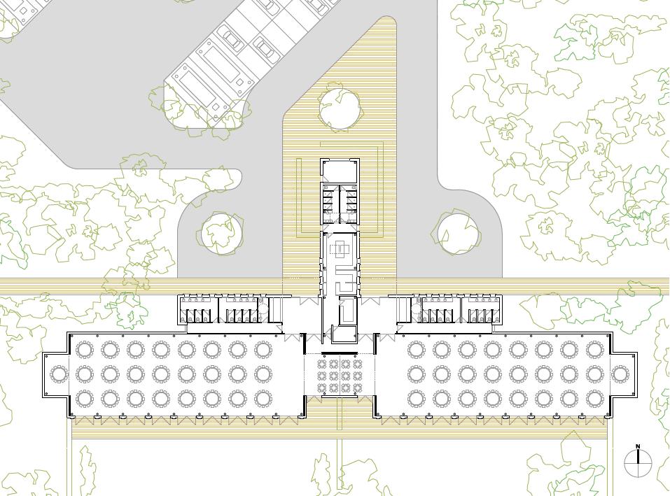 PLANTA EDIFICIO DE CONVENCIONES. Complejo de bodega, hotel y edificio de convenciones. Superficie: 3.285.47 m². Finca Carromonte. Meco.Madrid. 2012