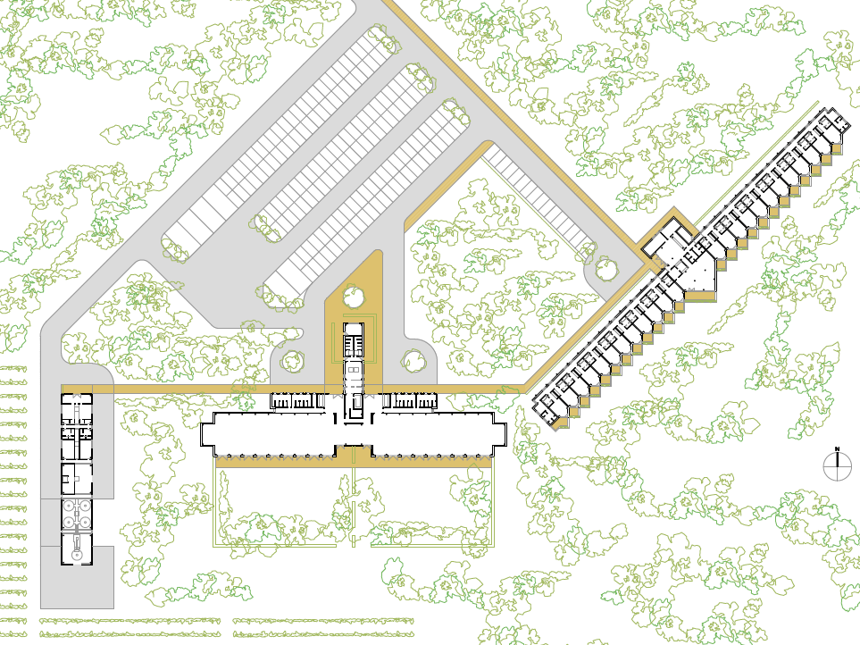 PLANTA GENERAL. Complejo de bodega, hotel y edificio de convenciones. Superficie: 3.285.47 m². Finca Carromonte. Meco.Madrid. 2012